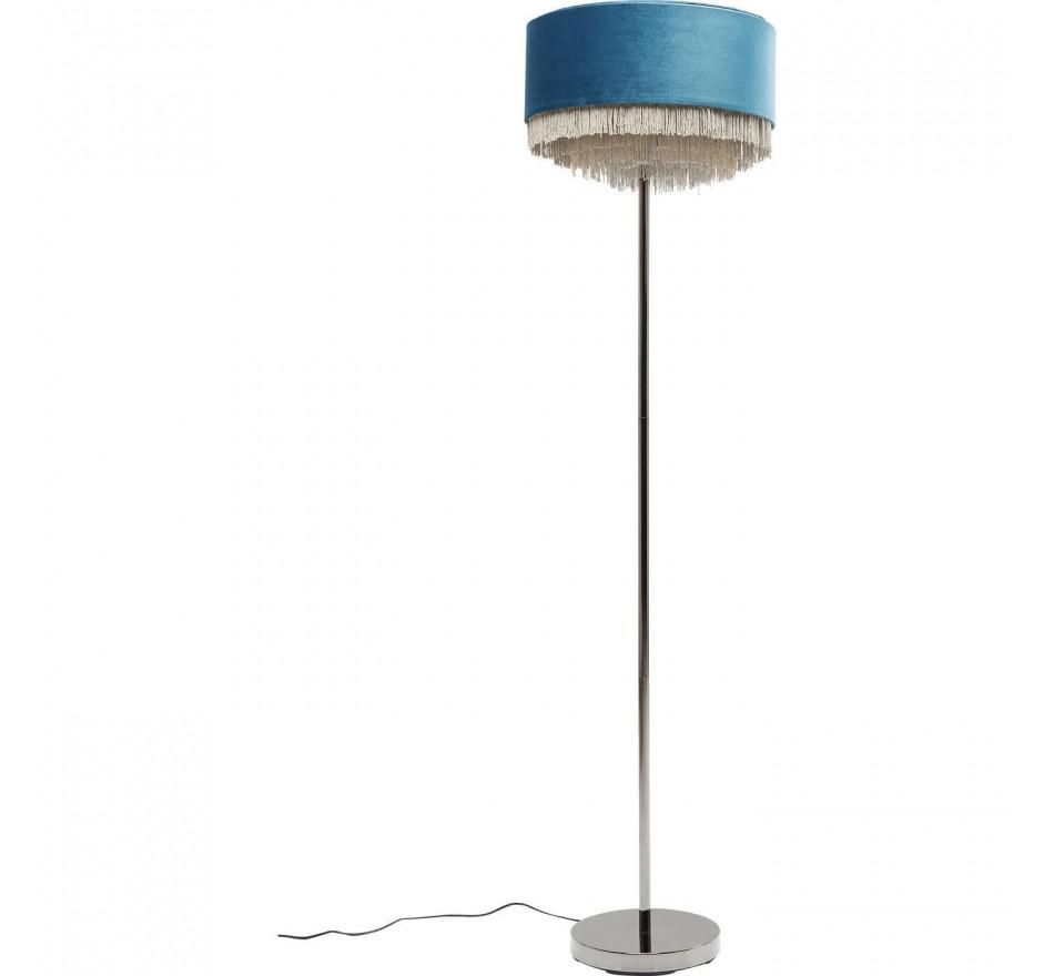 lampadaire rétro bleu pétrole à frange - tassel - kare design