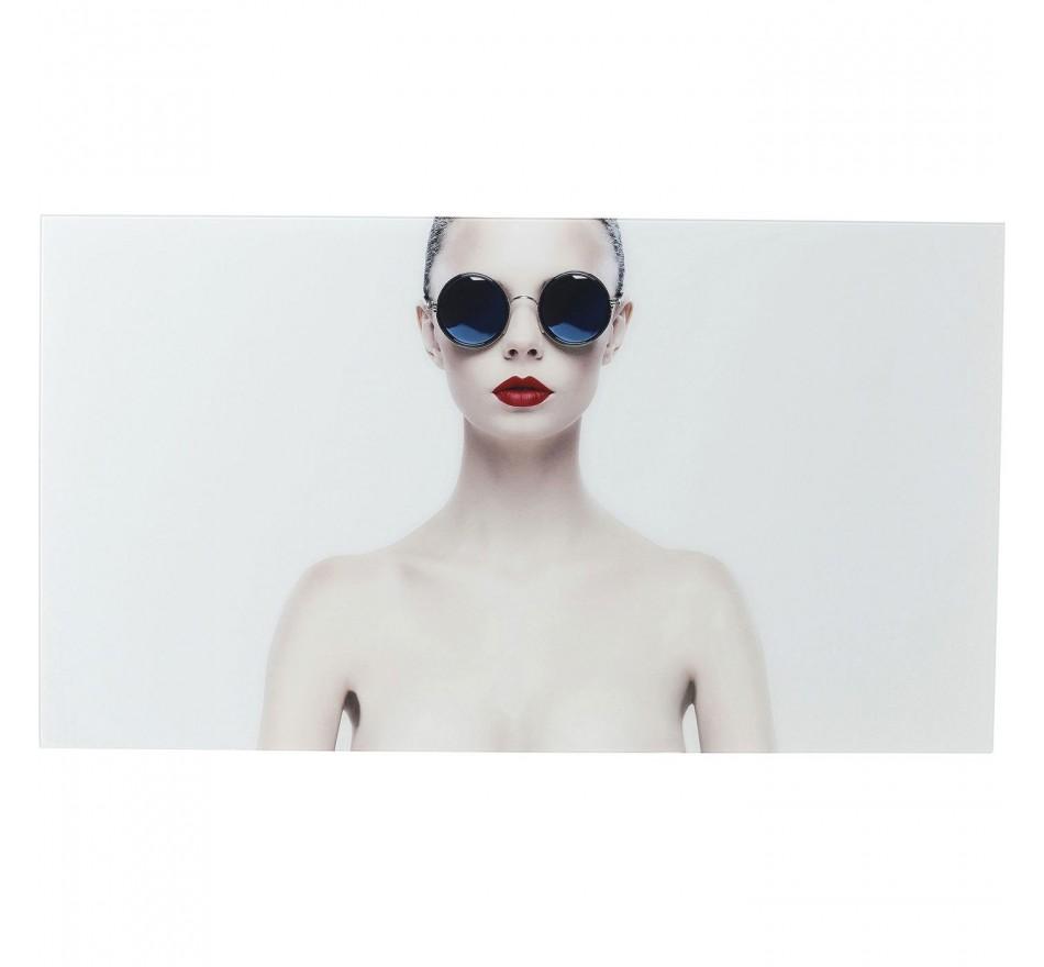 Tableau en verre femme lunettes rétro 80x150cm Kare Design