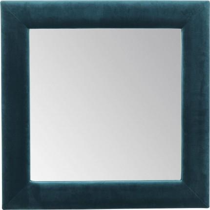 Miroir carré velours bleu-vert 100x100cm Kare Design