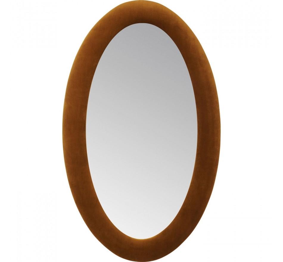 Miroir ovale velours marron 150x90cm Kare Design