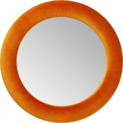 Miroir rond velours orange 92cm Kare Design