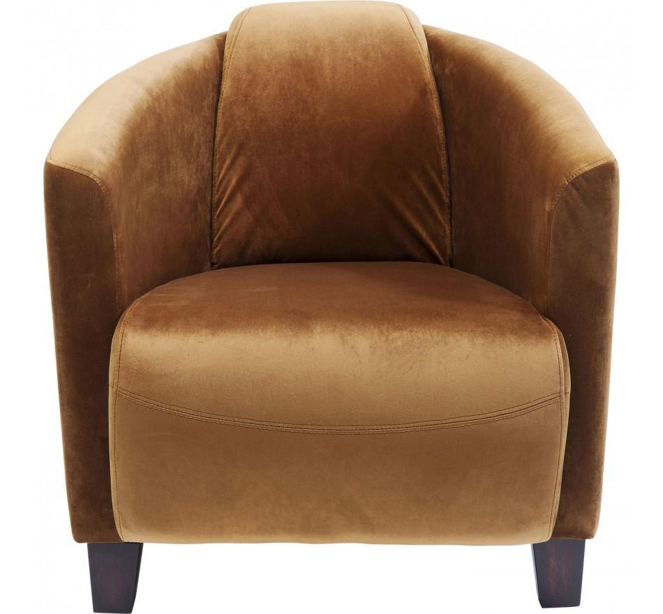 Fauteuil Cigar Lounge velours marron Kare Design