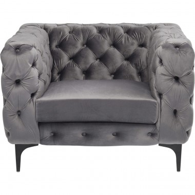 Fauteuil Two Step velours gris Kare Design