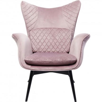 Fauteuil Tudor velours rose Kare Design
