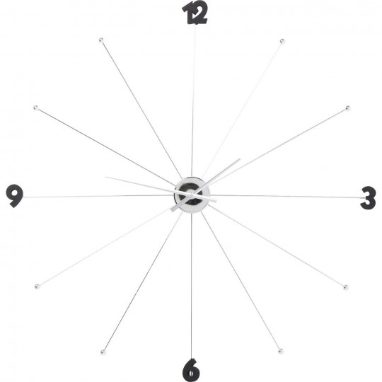 Horloge Umbrella Chrome et Noir Kare Design