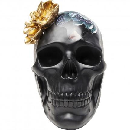 Déco crâne noir fleurs 22cm Kare Design