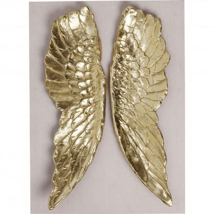 Tableau beige ailes dorées 110x80cm Kare Design