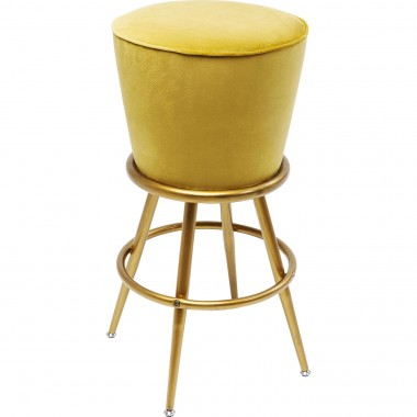 Tabouret de bar Lady Rock velours jaune Kare Design