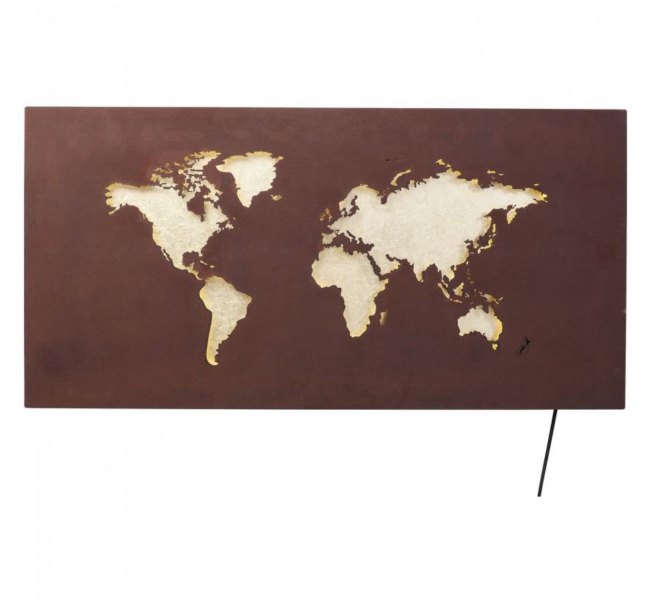 Applique carte du monde LED Kare Design