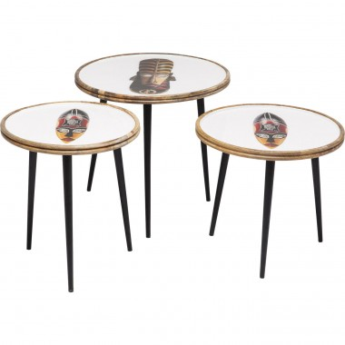 Tables d'appoint Masques Africains set de 3 Kare Design