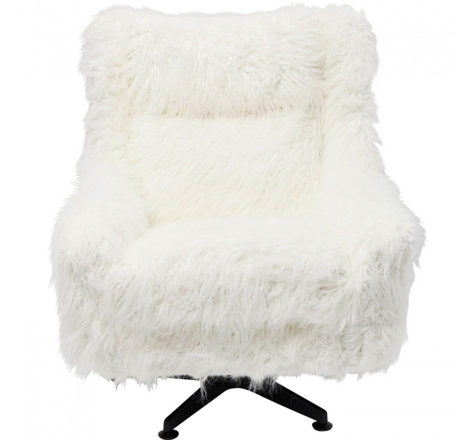 Fauteuil pivotant Yeti Club fourrure blanche Kare Design