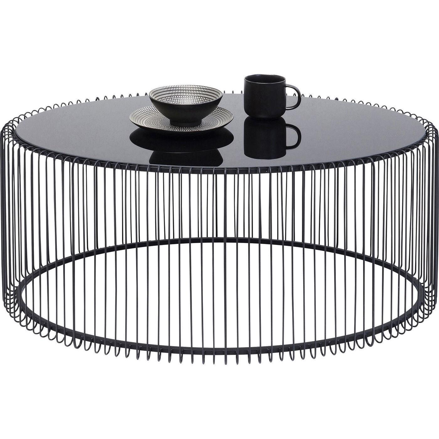 Table basse ovale Wire 60x90cm noire Kare Design