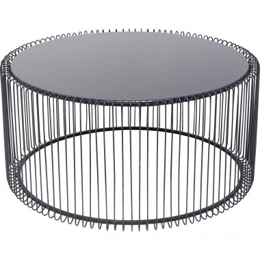 Table basse ronde Wire noire 80cm Kare Design