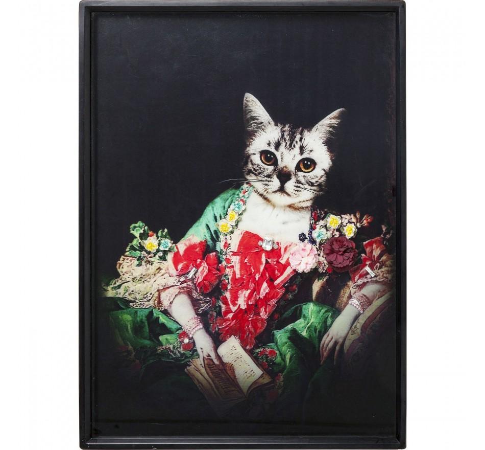 Tableau Frame Lady Cat 80x60cm Kare Design