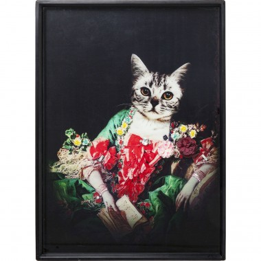 Tableau Frame Lady Cat 80x60cm Kare Design