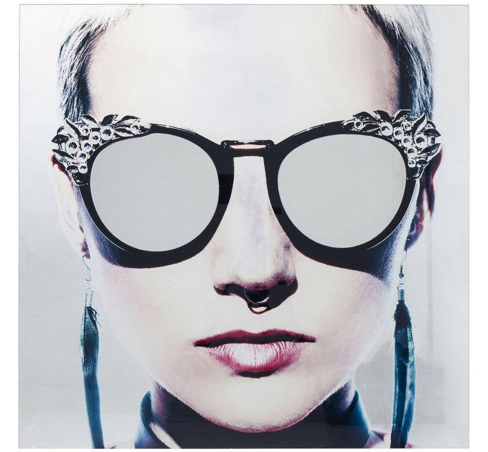 Tableau en verre femme rebelle lunettes 80x80cm Kare Design