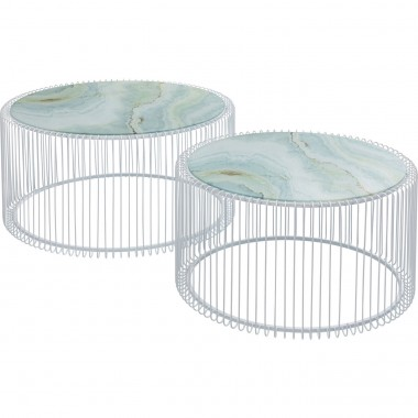 Tables basses rondes Wire blanches marbre set de 2 Kare Design