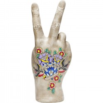 Déco main V tatouage fleurs 36cm Kare Design