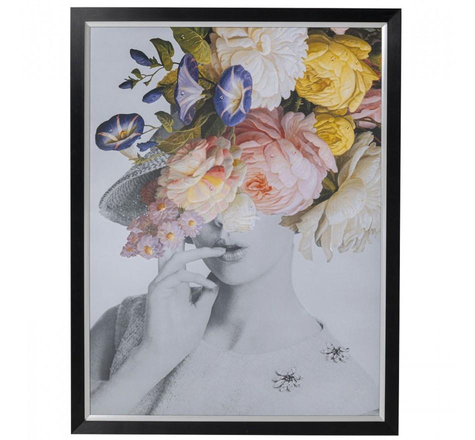 Tableau Frame Femme fleurs pastel 152x117cm Kare Design