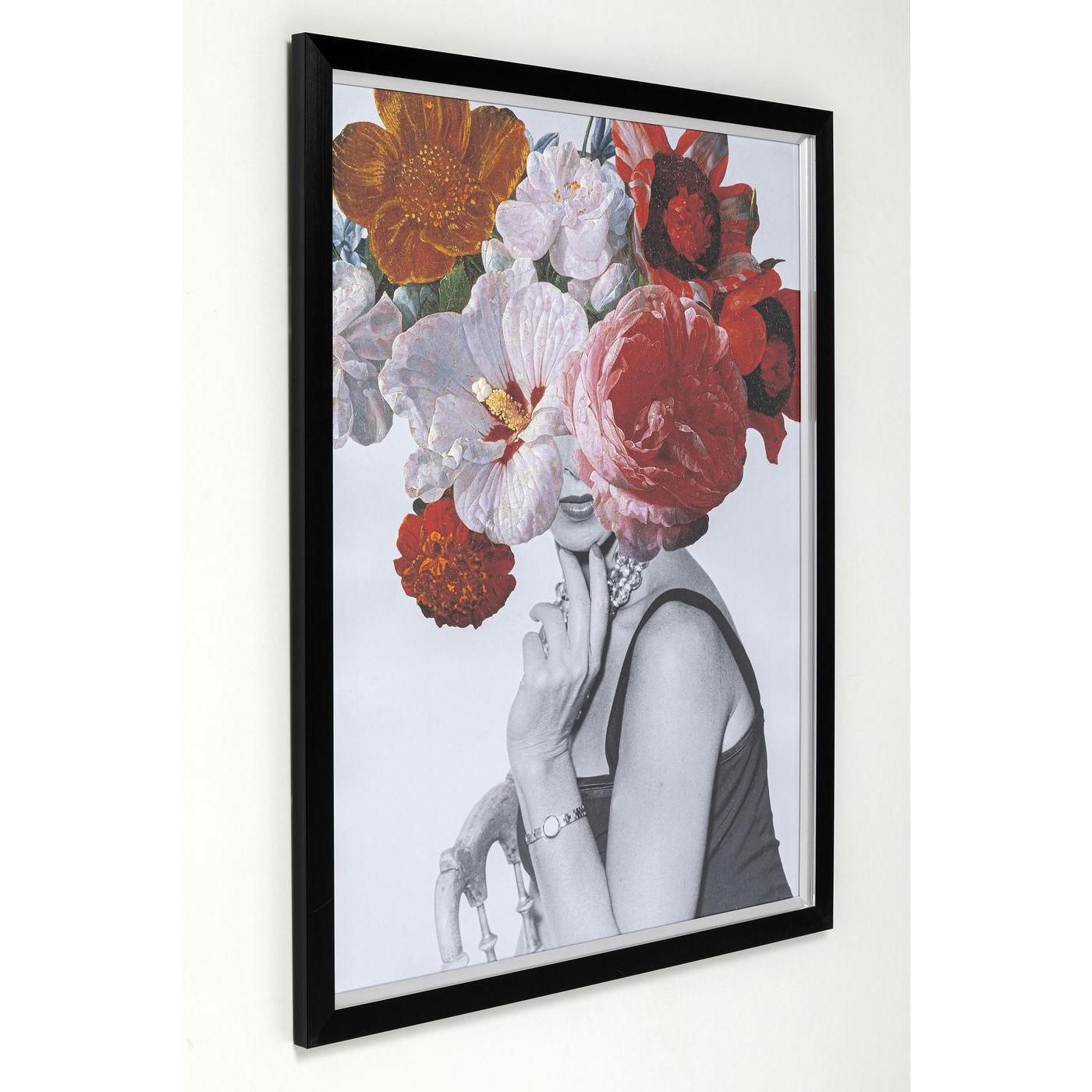 Tableau Frame Femme fleurs rouges 152x117cm Kare Design