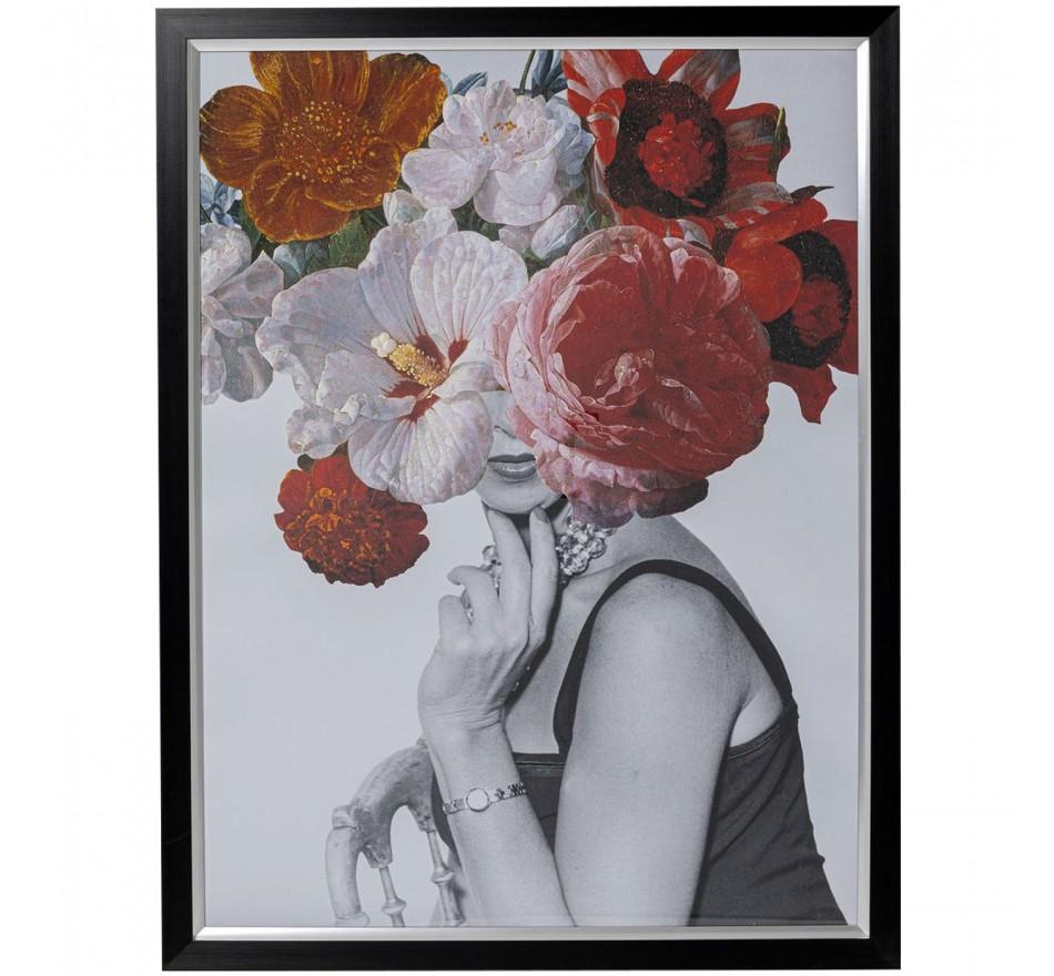 Tableau Frame Femme fleurs rouges 117x152cm Kare Design