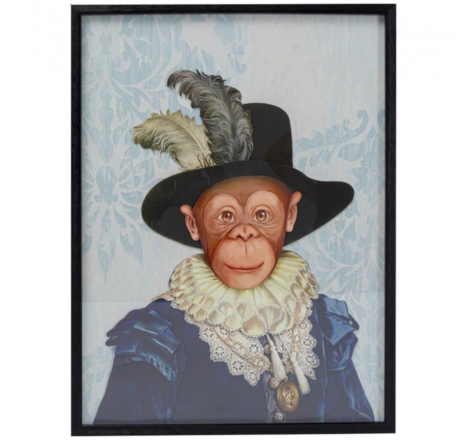 Tableau Frame Art singe chapeau 80x60cm Kare Design