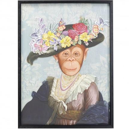 Tableau Frame Art singe chapeau fleurs 80x60cm Kare Design