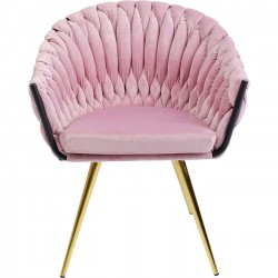 Chaise avec accoudoirs Knot velours rose Kare Design