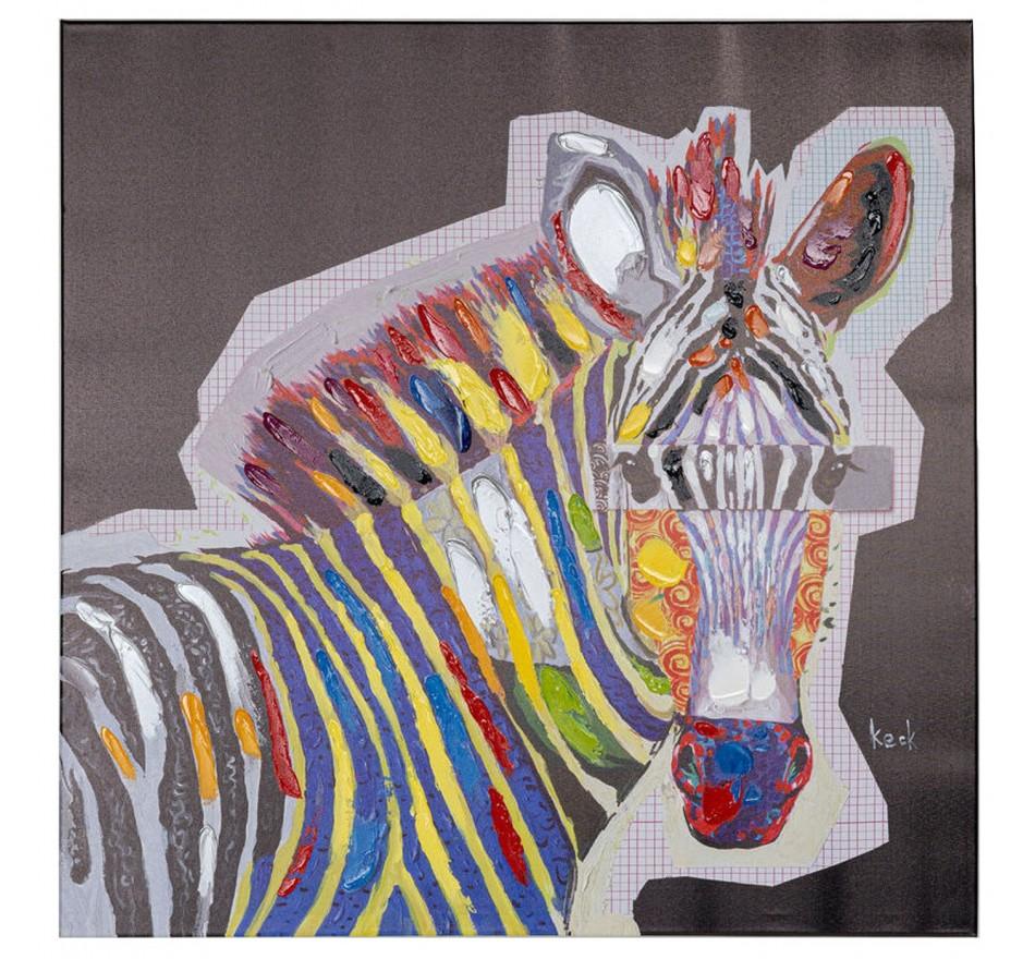 Tableau Touched Wildlife zèbre 80x80cm Kare Design