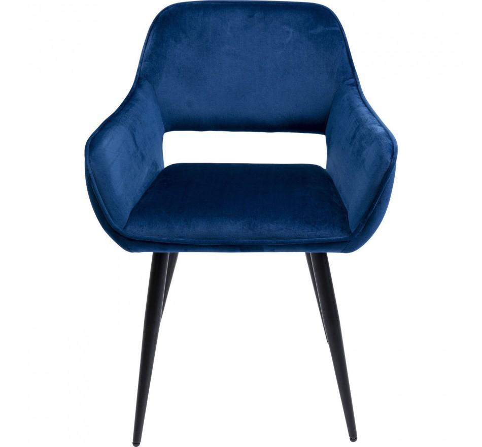 Chaise avec accoudoirs San Francisco velours bleu Kare Design