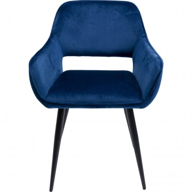Chaise avec accoudoirs San Francisco velours bleu Kare Design