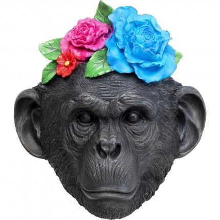 Déco murale masque singe fleurs Kare Design