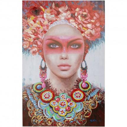 Tableau femme couronne de fleurs 90x140cm Kare Design