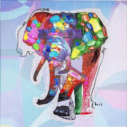 Tableau Touched éléphant 80x80cm Kare Design