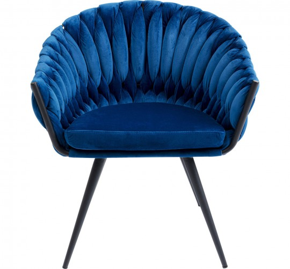 Chaise avec accoudoirs Knot velours bleu Kare Design