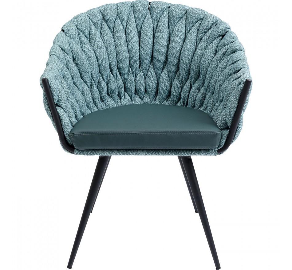 Chaise avec accoudoirs Knot bleu-vert Kare Design
