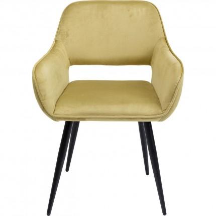 Chaise avec accoudoirs San Francisco velours vert clair Kare Design