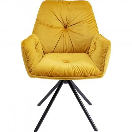 Chaise avec accoudoirs Mila velours jaune Kare Design