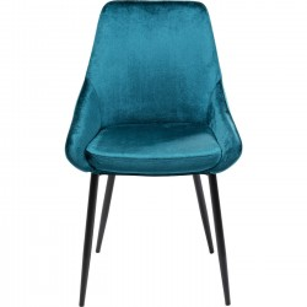 Chaise East Side velours bleu-vert Kare Design