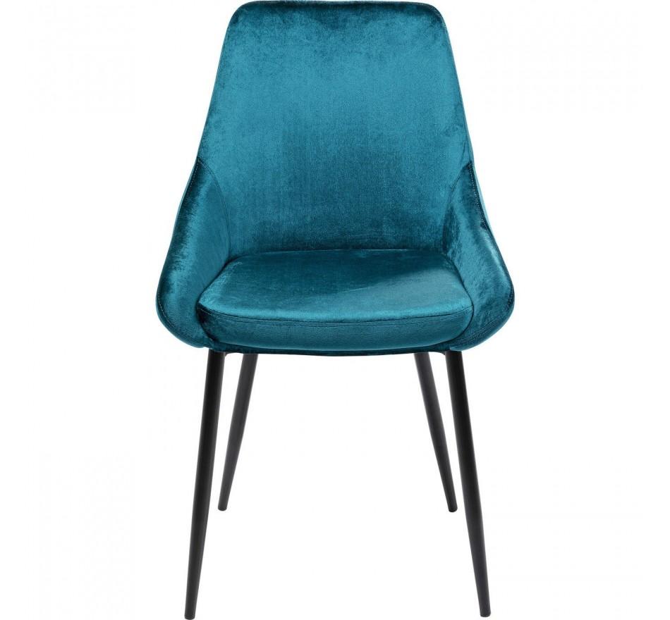 Chaise East Side velours bleu pétrole Kare Design