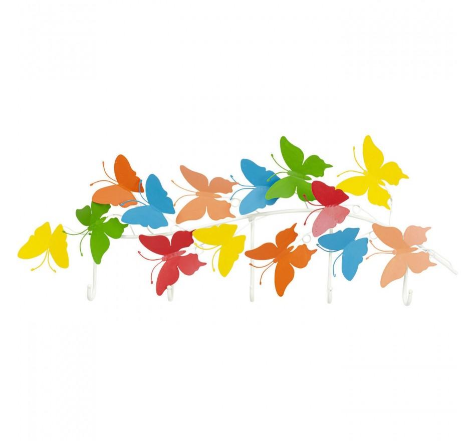 Portemanteau mural papillons multicolores 79cm Kare Design