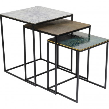 Tables d'appoint Ray carrées set de 3 Kare Design