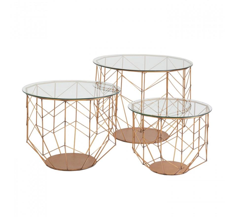 Table basse Wire Grid laiton set de 3 Kare Design