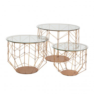 Table basse Wire Grid laiton set de 3 Kare Design