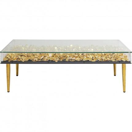 Table basse 3D fleurs dorées 120x60cm Kare Design