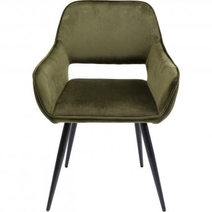 Chaise avec accoudoirs San Fransisco velours vert foncé Kare Design