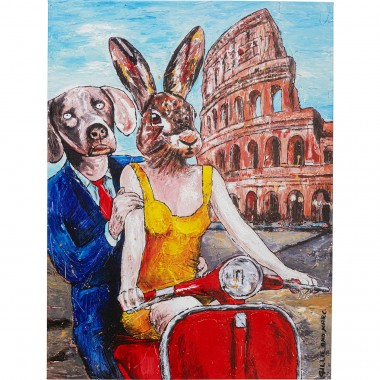 Tableau Touched couple animaux Rome 80x60cm Kare Design