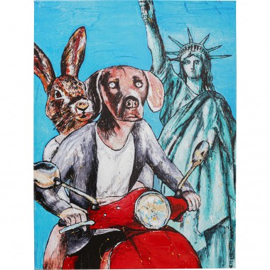 Tableau Touched couple animaux New York 80x60cm Kare Design
