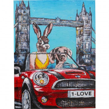 Tableau Touched couple animaux Londres 80x60cm Kare Design