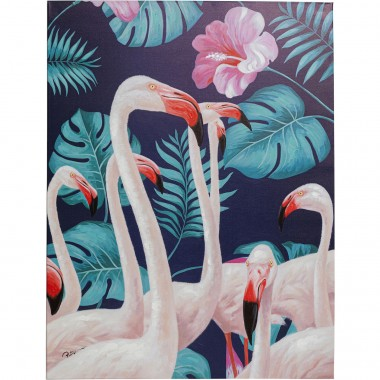 Tableau flamants roses jungle 92x122cm Kare Design